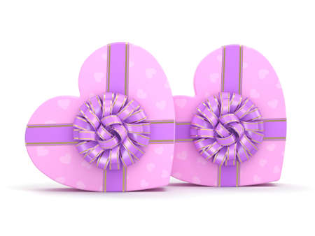 Pink boxes with heart shaped purple ribbon