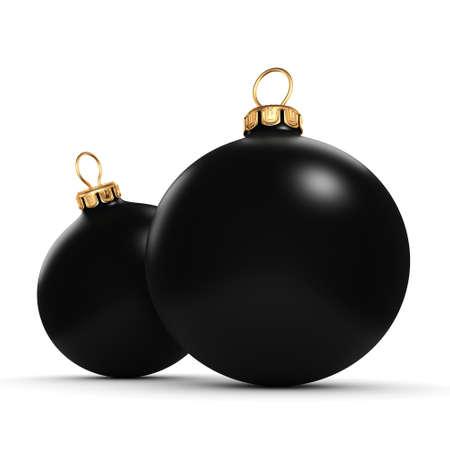 3D-rendering Zwarte mat kerstballen op witte achtergrond Stockfoto