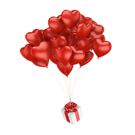 balloon bouquet: 3D rendering a bunch of red balloons with a gift Stock Photo