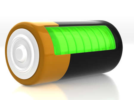 semitransparent: 3D rendering. A battery model with semitransparent glassy side