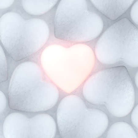 rebirth: 3D rendering beautiful bright glowing heart on ice background