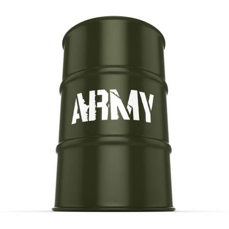grease: 3D rendering a khaki army barrel with an inscription