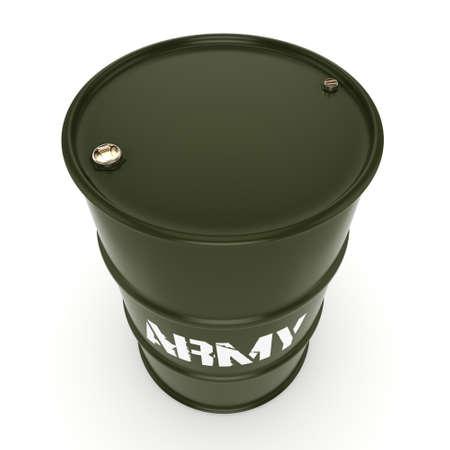 fleet: 3D rendering a khaki army barrel with an inscription