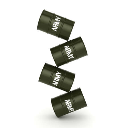 grease: 3D rendering several army khaki barrels with the inscription
