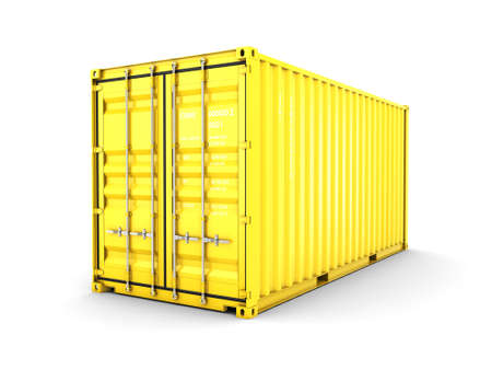 merchandize: 3D rendering Isolated cargo container on the white background