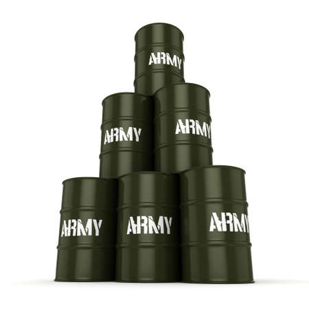 chemical warfare: 3D rendering several army khaki barrels with the inscription