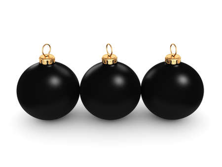 3D-rendering Zwarte mat kerst bal op een witte achtergrond