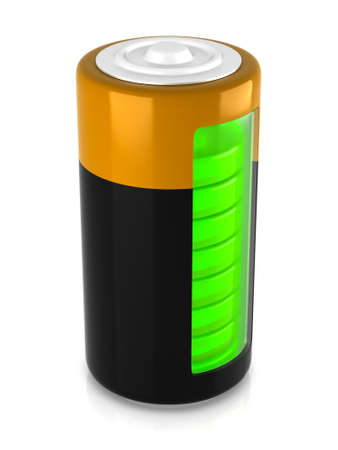 3D rendering. A battery model with semitransparent glassy side