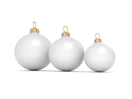 3D rendering White mat christmas ball on  white background