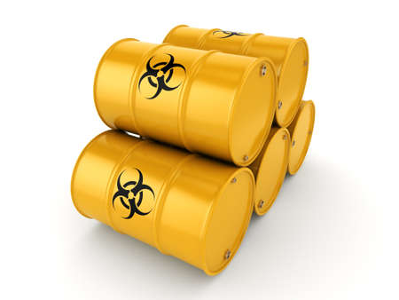 chemical material: 3D rendering yellow barrels with biologically hazardous materials
