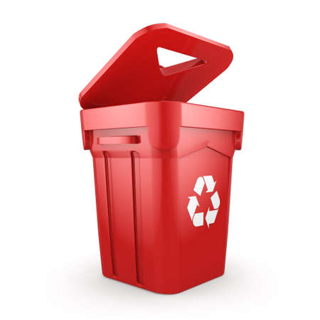 dumpster: 3D rendering Red Recycling Bin isolated on white background Stock Photo