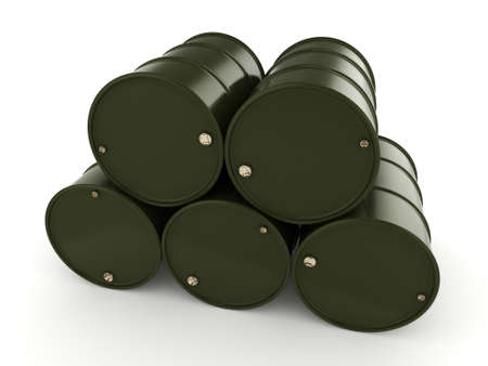 chemical material: 3D rendering khaki barrels not contain any inscriptions
