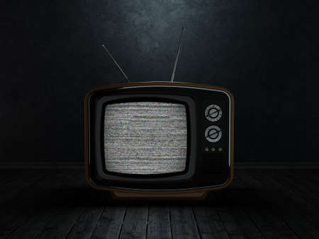 3D rendering retro TV on a dark background