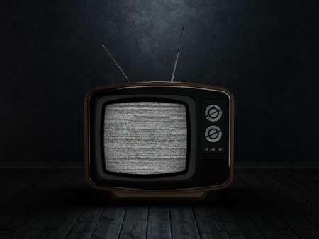 3D-rendering retro TV op een donkere achtergrond