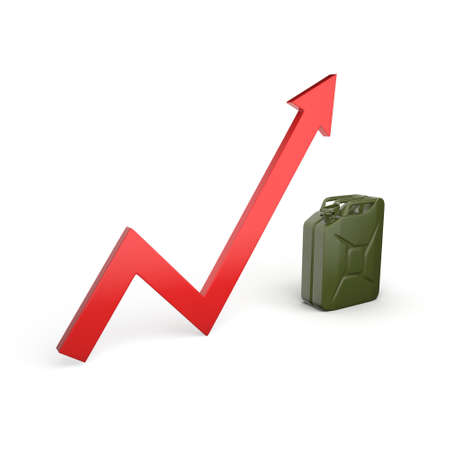 khaki: 3D rendering canister arrow symbolizing the rising fuel prices Stock Photo