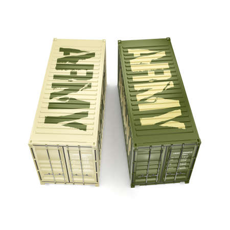 weaponry: 3D rendering ship khaki containers labeled Army