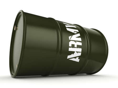 chemical material: 3D rendering a khaki army barrel with an inscription