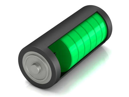 3D rendering. Battery load icon on a white background 版權商用圖片