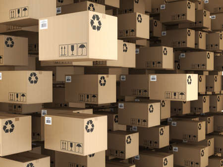 3D rendering of the set of cardboard boxes Фото со стока