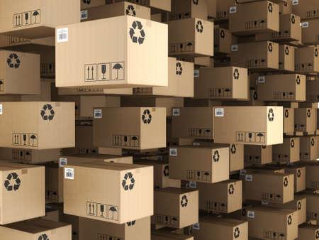 3D-weergave van de set van kartonnen dozen