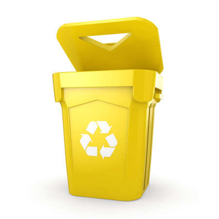 recycling bin: 3D rendering Yellow Recycling Bin isolated on white background