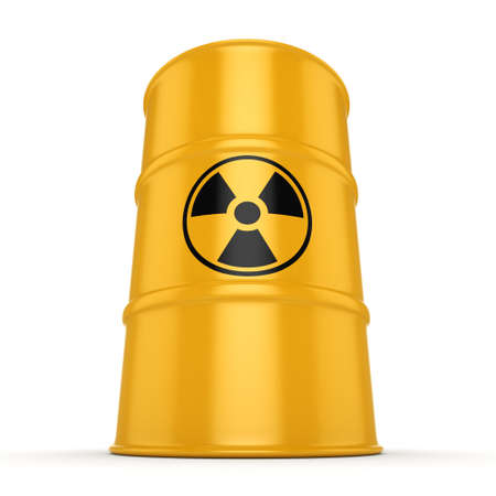radioactive: 3D rendering yellow barrel with radioactive materials Stock Photo