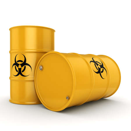 biological waste: 3D rendering yellow barrels with biologically hazardous materials