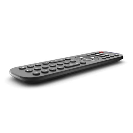 tv remote: 3D rendering tv remote  black on a white background