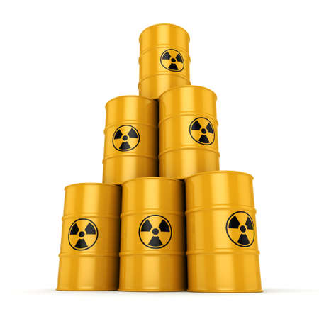 waste heap: 3D rendering yellow barrels with radioactive materials Stock Photo