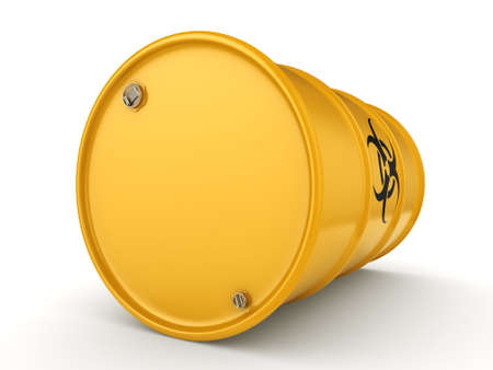 hazardous waste: 3D rendering yellow barrel with biologically hazardous materials Stock Photo