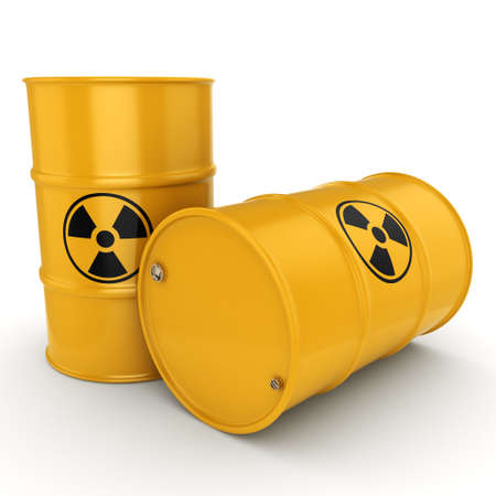 radioactive: 3D rendering yellow barrels with radioactive materials Stock Photo