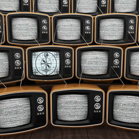 interference: 3D rendering many old TVs noisy one of whom works