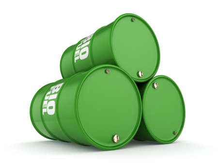 hydrocarbon: 3D rendering green barrels for biofuels with white lettering