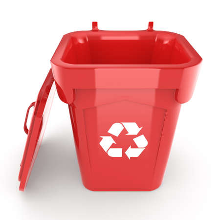recycling bin: 3D rendering Red Recycling Bin isolated on white background Stock Photo