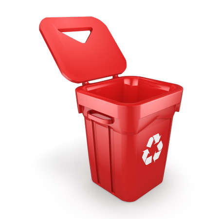 dispose: 3D rendering Red Recycling Bin isolated on white background Stock Photo