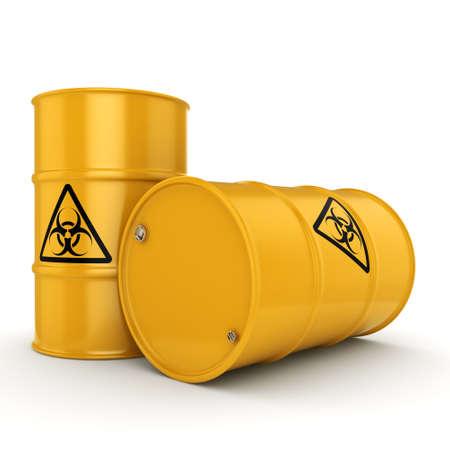trash danger: 3D rendering yellow barrels with biologically hazardous materials
