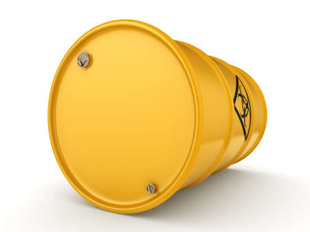 biological waste: 3D rendering yellow barrel with biologically hazardous materials Stock Photo