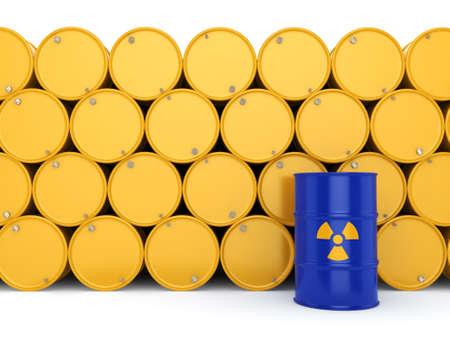 chemical hazard: 3D rendering yellow and blue barrels with radioactive materials