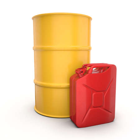 canister: 3D rendering red canister with yellow barrel