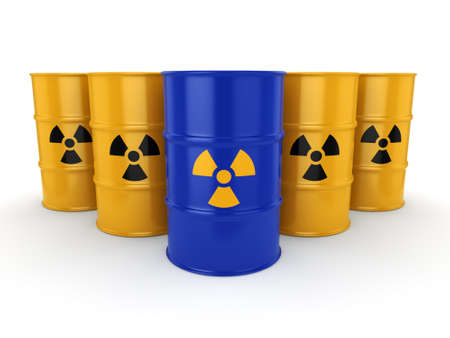 waste heap: 3D rendering yellow and blue barrels with radioactive materials