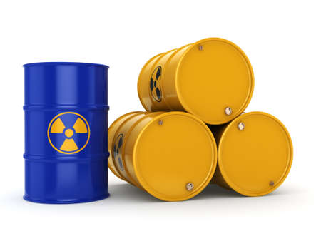 contaminated: 3D rendering yellow and blue barrels with radioactive materials