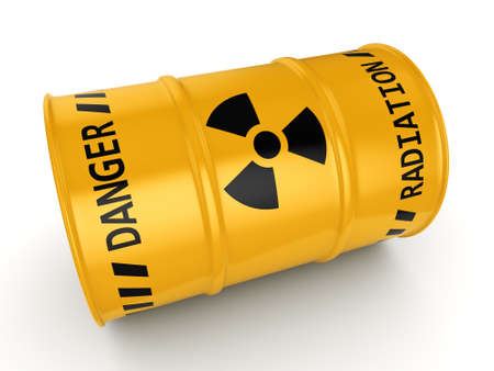 radioactive: 3D rendering Yellow radioactive barrel on a white background Stock Photo