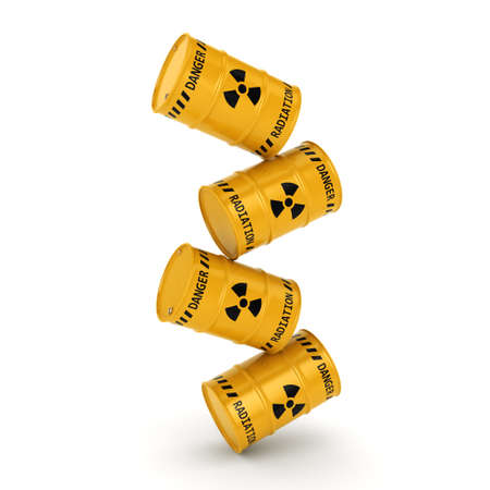 3D rendering Yellows radioactive barrels on a white background Stock Photo