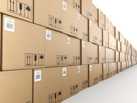 cajas de carton: Representación 3D de un montón de cajas de cartón