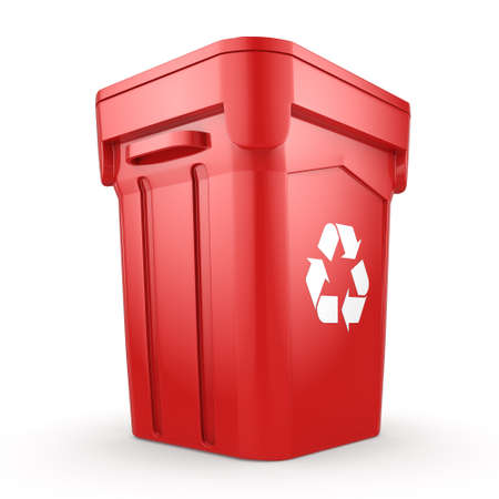 landfill: 3D rendering Red Recycling Bin isolated on white background Stock Photo