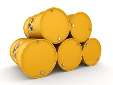 3D rendering yellow barrels with radioactive materials Stock Photo