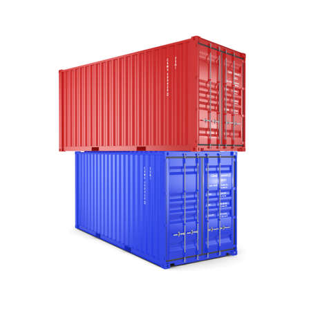 merchandize: 3D rendering the ship a containers on a white background Stock Photo