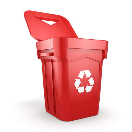 wastebasket: 3D rendering Red Recycling Bin isolated on white background Stock Photo