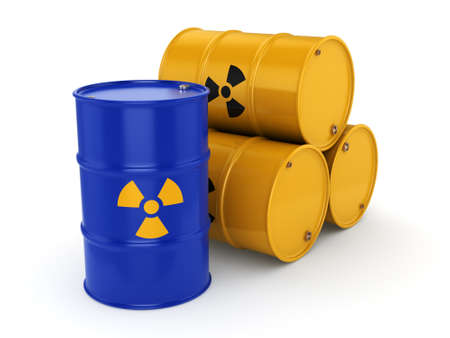 radioactive: 3D rendering yellow and blue barrels with radioactive materials