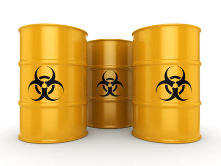 3D rendering yellow barrels with biologically hazardous materials